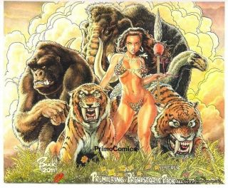 Primo: Budd Root Cover Quality Cavewoman & Friends Art Painting 14x17 ""