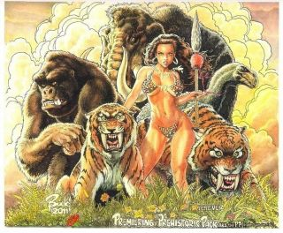 PRIMO: BUDD Root cover quality CAVEWOMAN & friends art painting 14x17