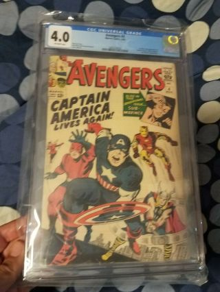 Avengers 4 Cgc 4.  0 First Captain America 4th Of July Hot Book
