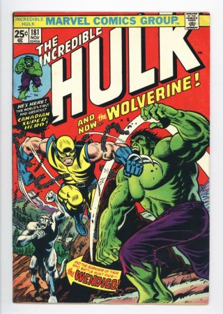 Incredible Hulk 181 Vol 1 Near Perfect 1st Wolverine W/ Marvel Stamp