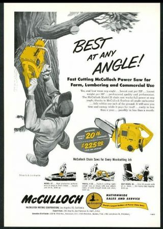 1954 Mcculloch Chainsaw Model 33 Chain Saw Photo& Art Vintage Trade Print Ad