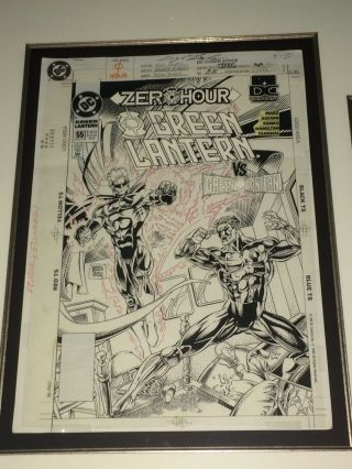 Green Lantern 55 Darryl Banks Cover Art Sept.  1994 Framed With Book