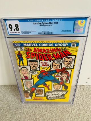 "Spiderman 121 Cgc 9.  8 Nm/mt "" Death "" Of Gwen Stacy Close To 9.  9"