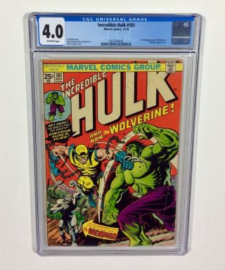 Incredible Hulk 181 Cgc 4.  0 Big Key (1st Wolverine,  Full App) Nov.  1974 Marvel