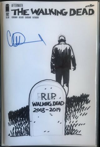 Walking Dead 192 Blank Cover With R.  I.  P.  Walking Dead Sketch By Charlie Adlard