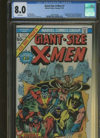 Giant - Size X - Men 1 Cgc 8.  0 | Marvel 1975 | 1st X - Men Team 2nd Full Wolverine