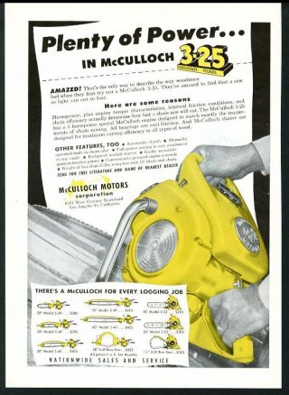 1950 Mcculloch Chainsaw Model 3 - 25 Etc 9 Models Chain Saw Vintage Trade Print Ad