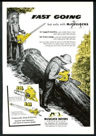 1950 Mcculloch Chainsaw Model 5 - 49 3 - 25 Chain Saw Photo Vintage Trade Print Ad