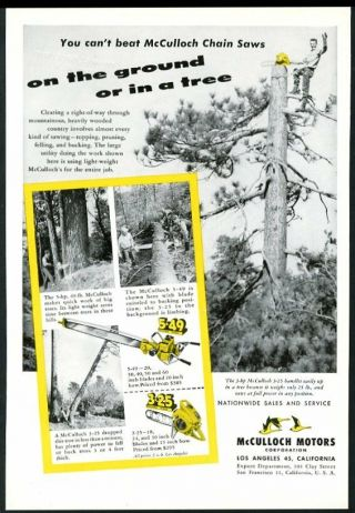 1950 Mcculloch Chainsaw Model 5 - 49 3 - 25 Chain Saw 4 Photo Vintage Trade Print Ad