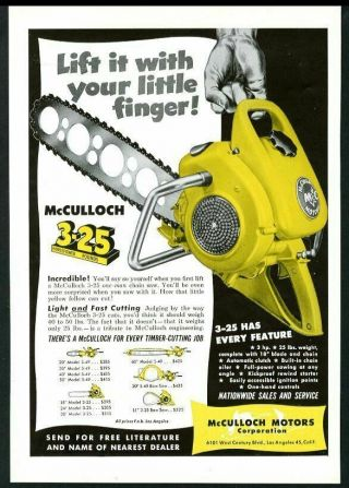 1950 Mcculloch Chainsaw Model 3 - 25 Chain Saw Photo Vintage Trade Print Ad
