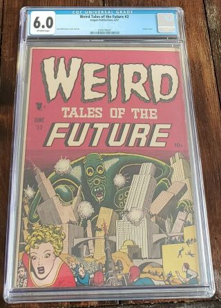Weird Tales Of The Future 2 Cgc Graded 6.  0 Ow Pgs Basil Wolverton Cover & Art
