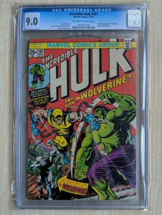 1974 Incredible Hulk 181 Cgc 9.  0 1st App Wolverine Ow/w Pages