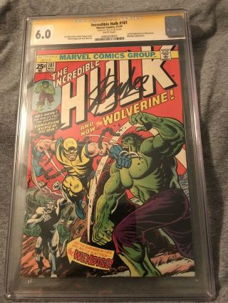 The Incredible Hulk 181 Cgc 6.  0 Ss Stan Lee White Pages