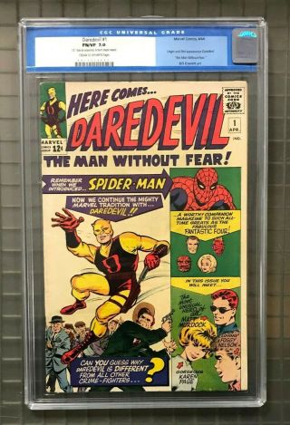 Daredevil 1 Marvel Comics 1964 Cgc 7.  0 Origin & 1st Appearance Of Matt Murdock