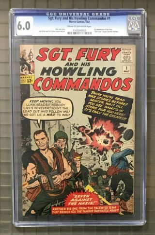 Sgt.  Fury & His Howling Commandos 1 Marvel Comics 1963 Cgc 6.  0 1st Appearance