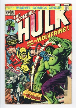Incredible Hulk 181 Vol 1 Lower Grade 1st App Wolverine Complete With Mvs
