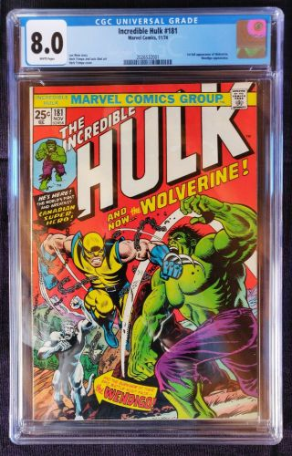 The Incredible Hulk 181 (nov 1974,  Marvel),  Cgc 8.  0,  White Pages