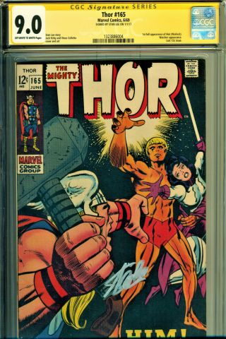 "Thor 165 Cgc 9.  0 Ss Signed By Stan Lee - Jack Kirby Art - 1st App "" Him "" (warlock)"