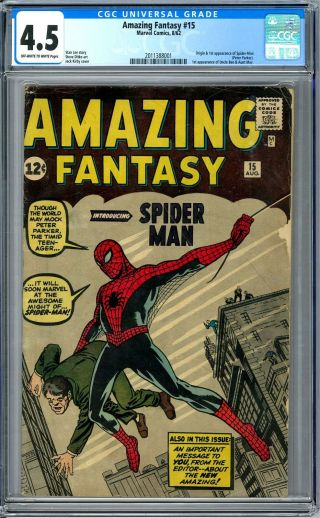 Fantasy 15 Cgc 4.  5 (ow) Origin & 1st Appearance Of Spider - Man