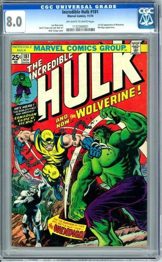 Incredible Hulk 181 Cgc 8.  0 (ow - W) 1st Appearance Of Wolverine