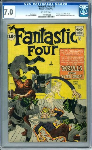 Fantstic Four 2 Cgc 7.  0 (ow) 1st Appearance Of The Skrulls