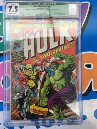 Incredible Hulk 181 Cgc 7.  5 (green Label - Stamp Removed)