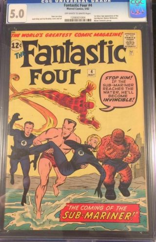 Fantastic Four 4 Cgc 5.  0 Ow/w Pages First Silver Age Sub - Mariner