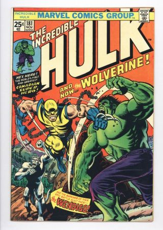 Incredible Hulk 181 Vol 1 Near Perfect 1st Wolverine W/ Value Stamp
