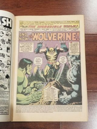 Incredible Hulk 181 Vol 1 Near Perfect 1st Wolverine w/ Value Stamp 3