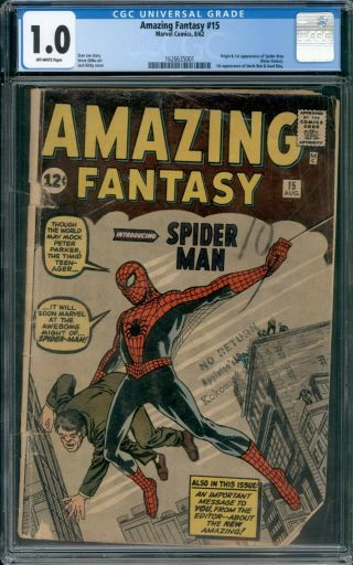 Fantasy 15 Cgc 1.  0 Marvel 1962 Holy Grail 1st Appearance Of Spider - Man