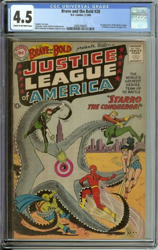 Brave And The Bold 28 Cgc 4.  5 Cr/ow // 1st Appearance Justice League Of America