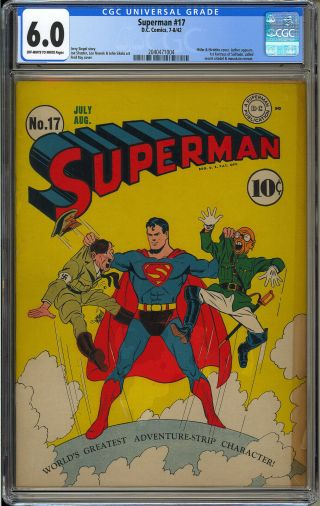 Superman 17 Classic Hitler Cover Wwii Golden Age Dc War Comic 1942 Cgc 6.  0