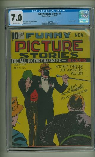 Funny Picture Stories 1 (cgc 7.  0) O/w Pgs; 1st Cover App.  Clock; 1936 (c 23727)