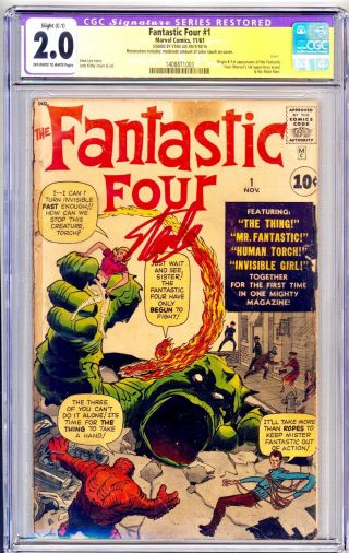 1961 Fantastic Four 1 Cgc 2.  0 - 1st Marvel Team & Mole Man Signed Stan Lee