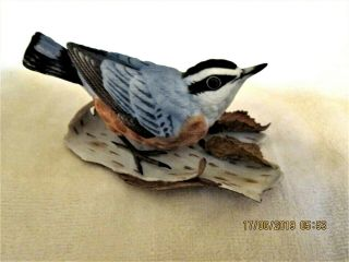 """Lenox Red - Breasted Nuthatch Bird Figurine Colorful Marked 4 """" L X 2 1/4 """" T"""