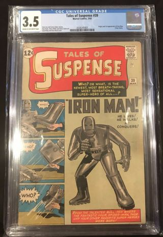 (1963) Tales Of Suspense 39 Cgc 3.  5 1st Appearance Of Iron Man Not Pressed