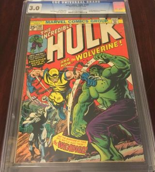 The Incredible Hulk 181 Cgc 3.  0 1st Wolverine App.  W/ Stamp.