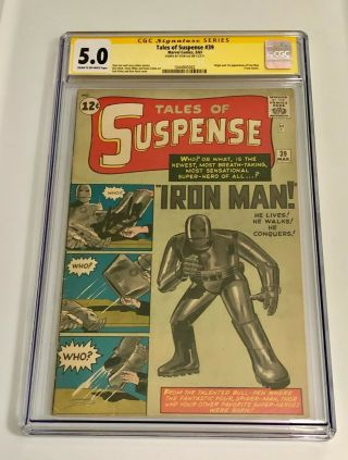 Tales Of Suspense 39 Cgc 5.  0 Stan Lee Sig Series (c - Ow) 1st App Iron Man