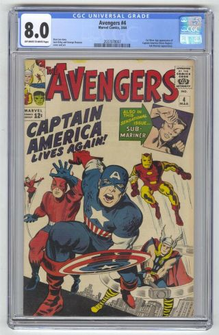 Avengers 4 Cgc 8.  0 Marvel Comic Key 1st Captain America Silver Age