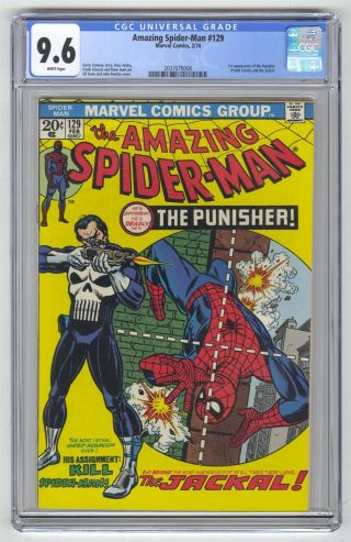 Spider - Man 129 Cgc 9.  6 Marvel Key 1st Punisher White Pages