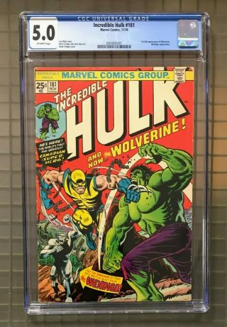 Incredible Hulk 181 Marvel Comics 1974 Cgc 5.  0 1st Full Appearance Of Wolverine