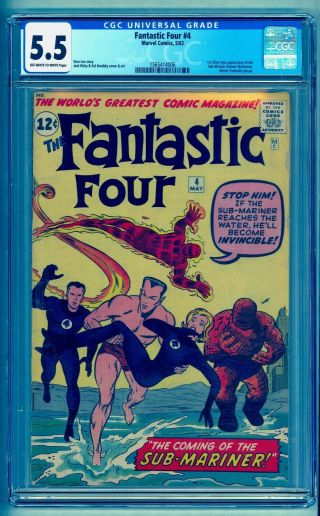 FANTASTIC FOUR 4 CGC 5.  5 OWW 1ST SA SUBMARINER BRIGHT COLOR NO MARKS STAMPS 2