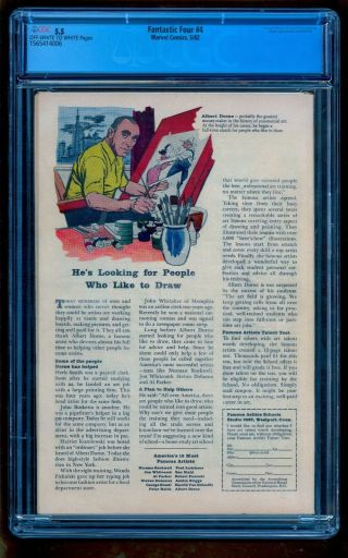 FANTASTIC FOUR 4 CGC 5.  5 OWW 1ST SA SUBMARINER BRIGHT COLOR NO MARKS STAMPS 3