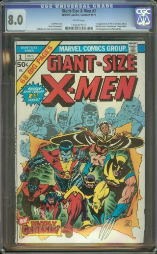 Giant - Size X - Men 1 Cgc 8.  0 1st X - Men 2nd Full Wolverine White Pages