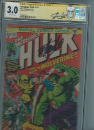 The Incredible Hulk 181 Cgc 3.  0 Signed By Stan Lee
