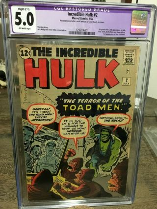 Incredible Hulk 2 1962 Cgc 5.  0 Ow Pages 1st Green Hulk Grail Book Case A,