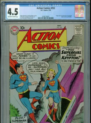 1959 Dc Action Comics 252 1st Appearance & Origin Supergirl Cgc 4.  5 Ow - W Box8