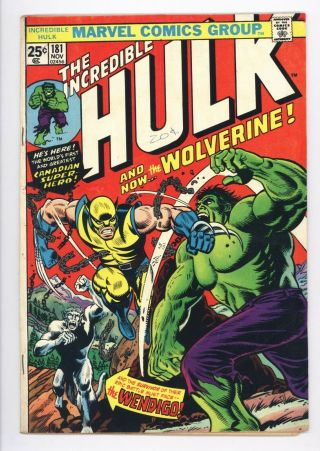 Incredible Hulk 181 Vol 1 Very 1st App Of Wolverine W/ Marvel Stamp