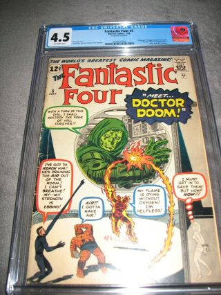 Fantastic Four 5 (1962) Cgc 4.  5 /unrestored/ow Pgs/origin & 1st Dr.  /doctor Doom