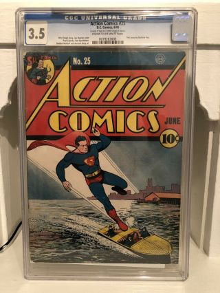 Action Comics 25 Cgc 3.  5 Golden Age Comic Book Early Superman From 1940